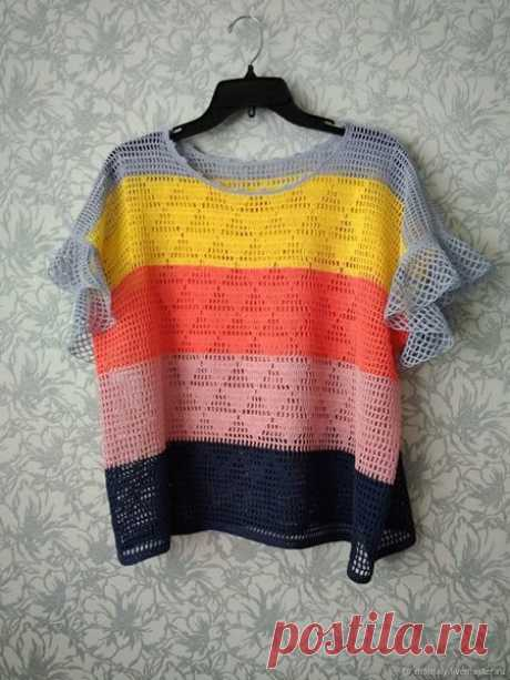 Ажурная блуза в филейной технике вязания крючком. Схема. / knittingideas.ru