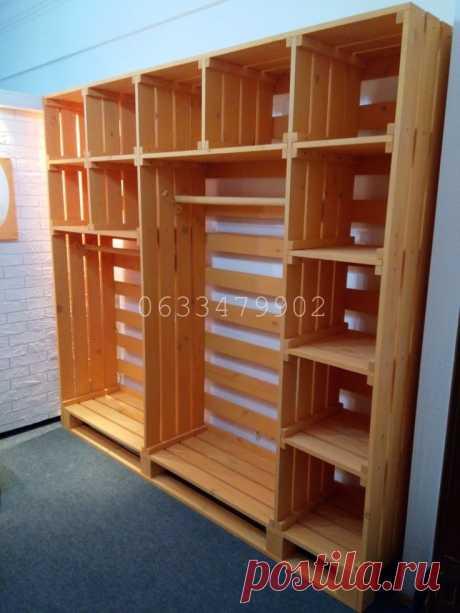 Яркий и вместительный стеллаж из дерева. Размер 2,4м*2,2м*0,45м. Материал - сосна. Изготовим в других конфигурациях и цветах.
