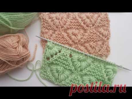 "Объемный узор спицами ""Маргаритки"". Подробный мастер-класс.  Knit pattern ""Daisies""."