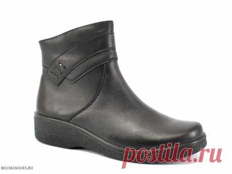 Ботинки женские Росвест 632-2, черный Комфортные женские ботинки для повседневной носки из натуральной кожи