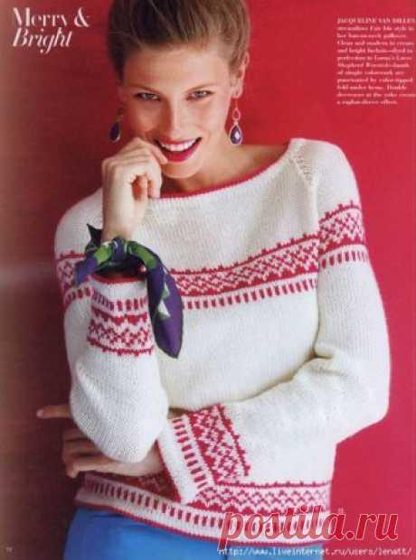 Спицы.Бело-красный пуловер с орнаментом
