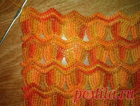 Красивый узор крючком. Можно для шарфа.