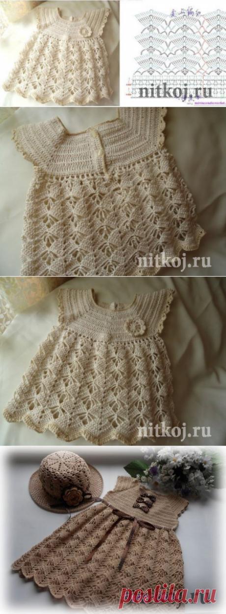 Платье крючком для юной кокетки » Ниткой - вязаные вещи для вашего дома, вязание крючком, вязание спицами, схемы вязания