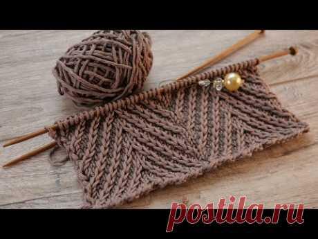 Узор «Зиг-заг» или «Рыбий хвост» спицами 🐟 «Zig-zag» or «Fishtail» knitting pattern