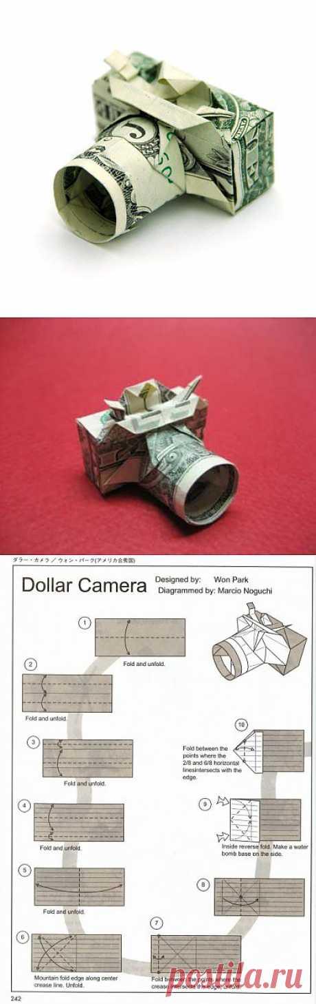 El origami la cámara fotográfica por el esquema Won Park
