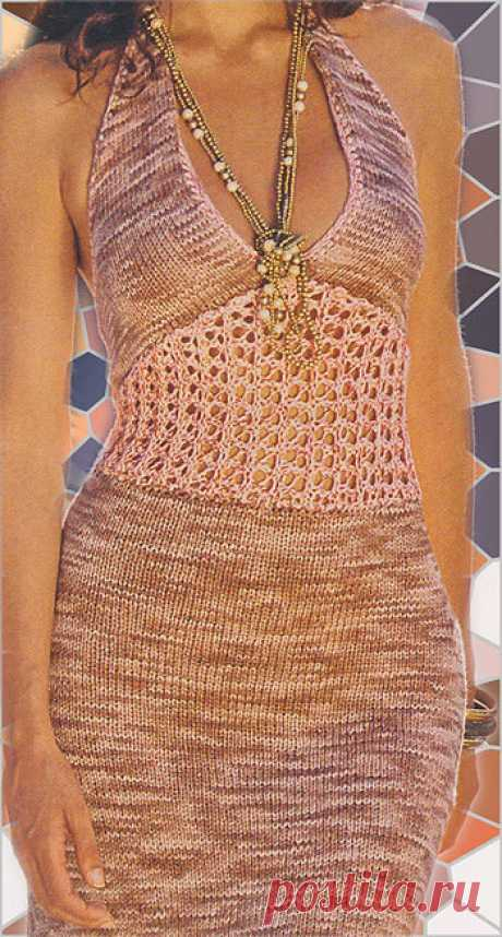Вязаное летнее платье — спицами и крючком