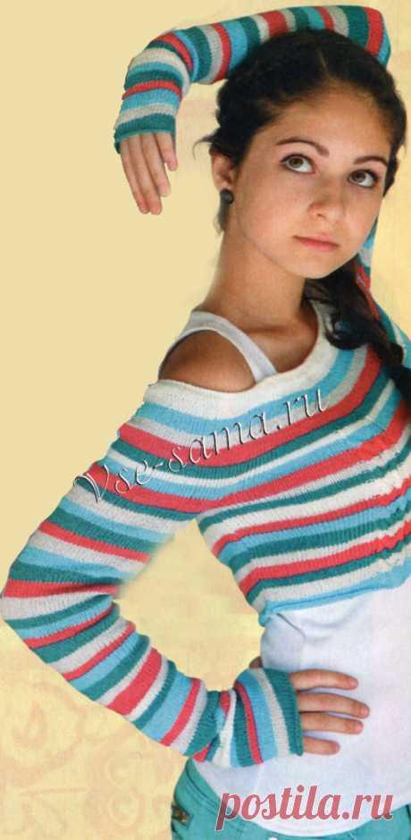 Короткий пуловер в полоску - Детские пуловеры, свитера, джемпера спицами