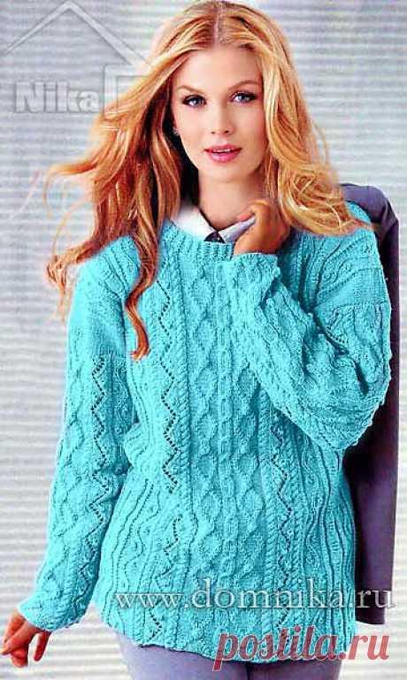 Женский свитер спицами - узор из кос и ромбов | Золотые Руки