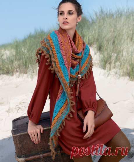 Цветной платок с комбинацией узоров - схема вязания спицами. Вяжем Шали на Verena.ru