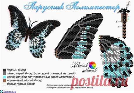 Бабочка Парусник Полимнестор + МК по плетению тельца бабочки | biser.info - всё о бисере и бисерном творчестве