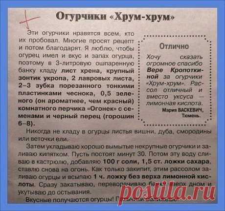 "Рецепт огурчиков ""Хрум-хрум"" Сборник""Рецепты на Бис""  На 3-х литровую банку!!!"