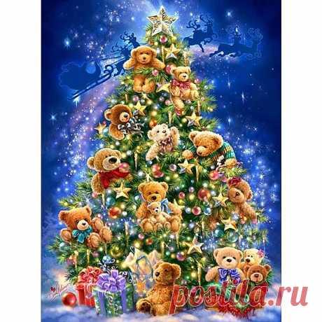 H085 полный алмазов живопись, 3D алмаз живопись, дерево, мозаика живопись, алмазов картина Рождество купить на AliExpress