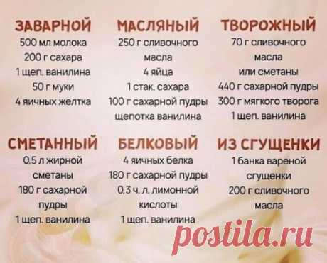 Рецепты лучших кремов!