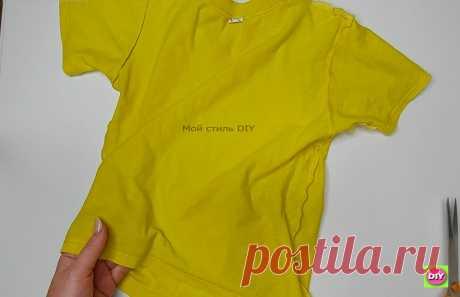 Превратила старую футболку в модную летнюю вещь. Получилось стильно и по-настоящему современно   Мой стиль DIY   Яндекс Дзен