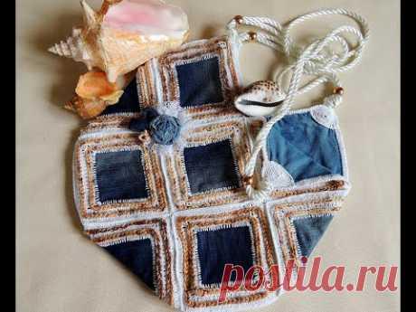DIY.Летняя сумка из старых джинсов. Вязание крючком. Очень экономно и стильно!