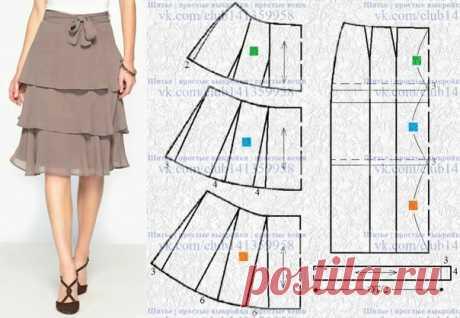 Многослойная ярусная юбка - моделирование. #простыевыкройки #простыевещи #шитье #юбка #моделирование