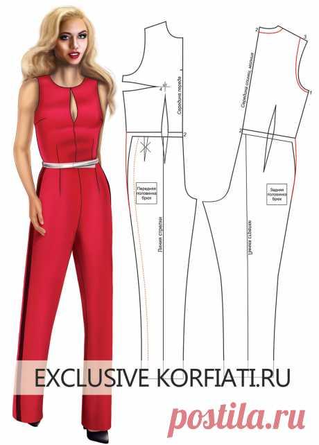 Basic pattern of women's overalls from A. Korfiatya