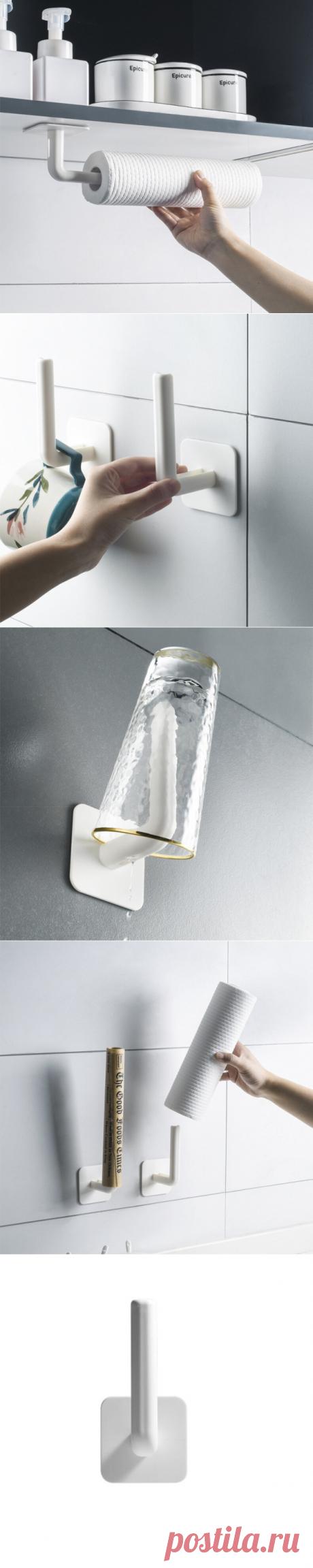 roll paper holder tissue towel storage organizer toilet kitchen bathroom hanging rack at Banggood