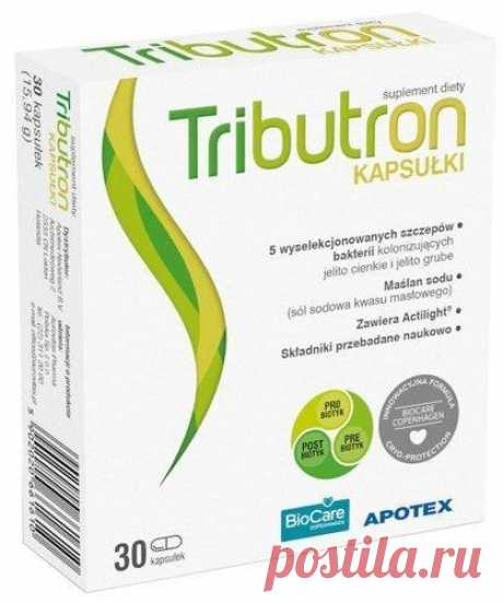 Tributron x 30 capsules The Tributron UK dietary supplement is a synbiotic containing five strains of probiotic bacteria. The composition enriches micro-encapsulated sodium butyrate and fructooligosaccharides.