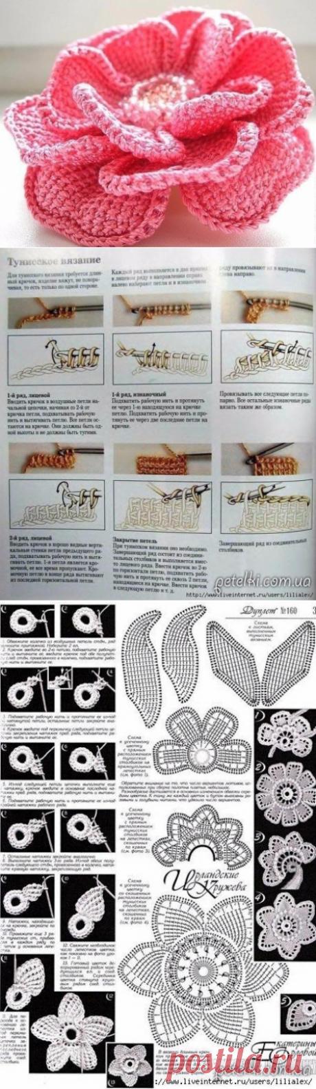 Цветок тунисским вязанием из категории Интересные идеи – Вязаные идеи, идеи для вязания