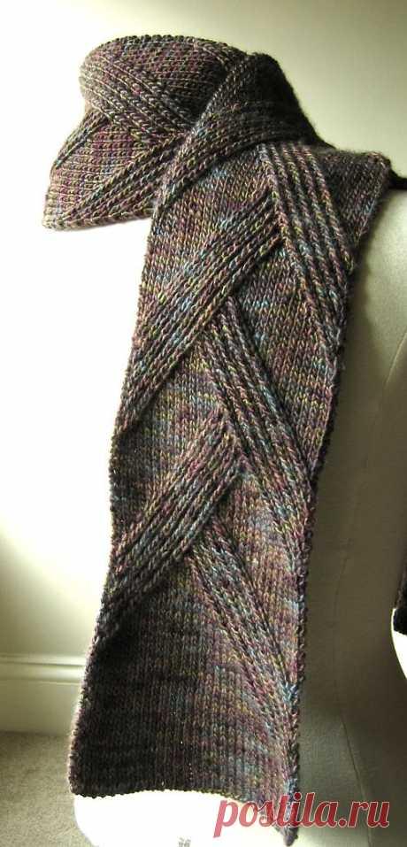 шарф спицами в резинку от Margarete Dolff.