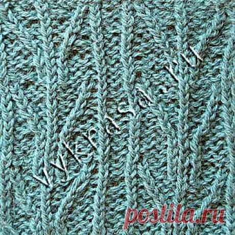 Красивый узор для вязания спицами «Веточки»