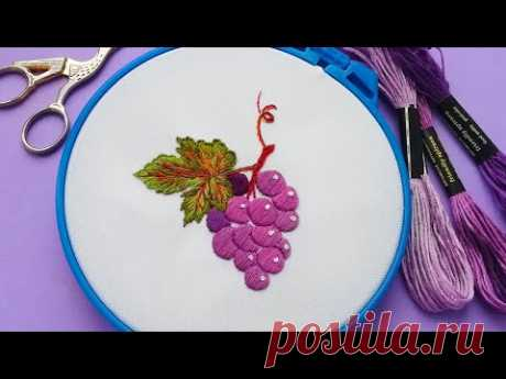 How to embroider grapes * hand embroidery * #malina_gm