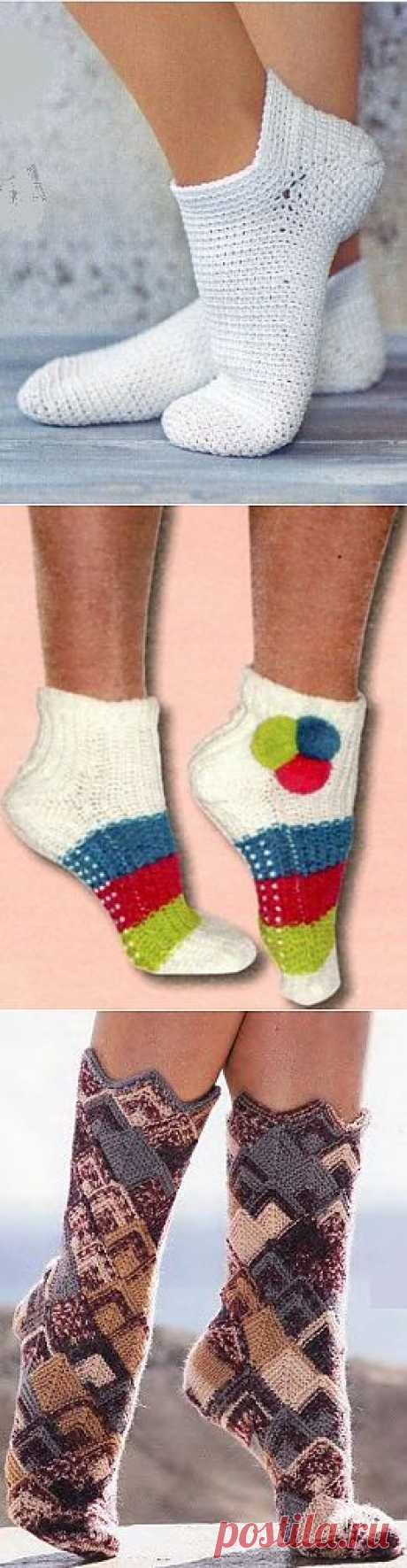 Вязаные носки. Носочки крючком
