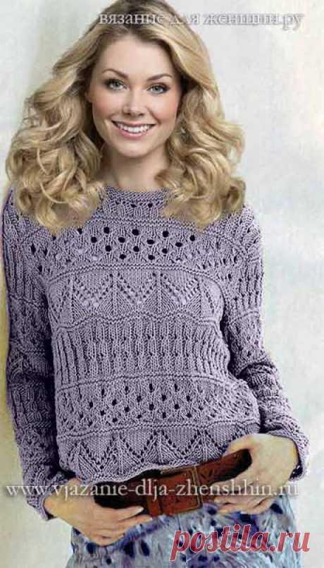 Ажурный пуловер с полосами из зигзагов (Вязание спицами) | Журнал Вдохновение Рукодельницы