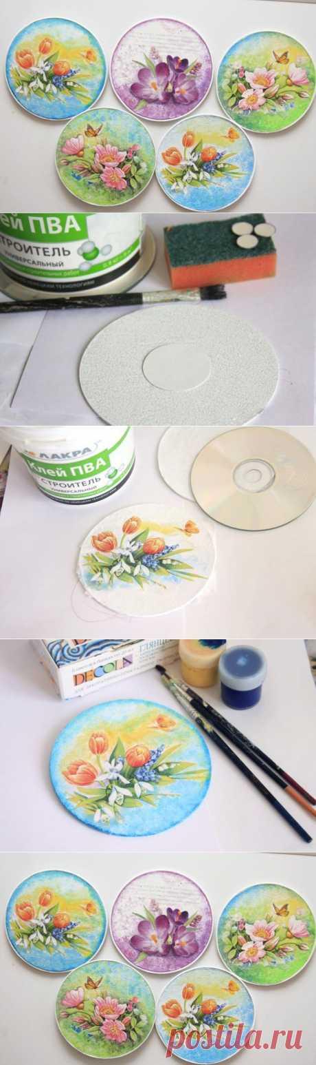 Декупажные магнитики из СD дисков.