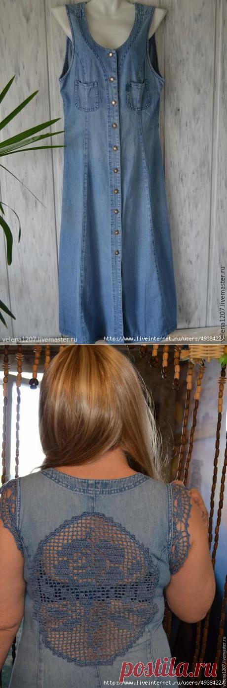 Превращение скучного джинсового халата в стильный летний наряд.