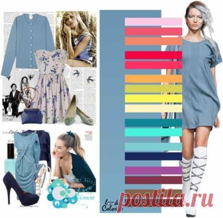 СЕРО-ГОЛУБОЙ цвет    Сочетайте серо-голубой цвет с бледно-розовым, розовым, персиковым, клубничным, малиновым, светло-оранжевым, зелено-желтым, желтым, бежевым, цветом морской волны, бирюзовым, светло-голубым, темно-синем, фиолетовым, бордовом, светло-коричневым, темно-коричневым оттенками.
