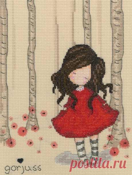 Волшебство вышивки в работах шотландки Suzanne Woolcott: милая девочка Gorjuss