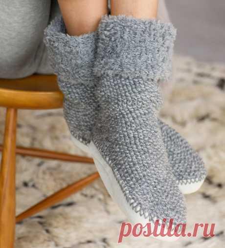 Тапочки-носочки - схема вязания спицами. Вяжем Тапочки на Verena.ru