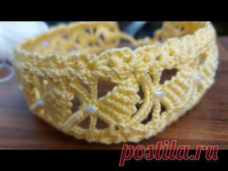 Tunisian Crochet. Tunus işi 1 saatte yapacağınız cok güzel örgü saç bandi bandana modeli