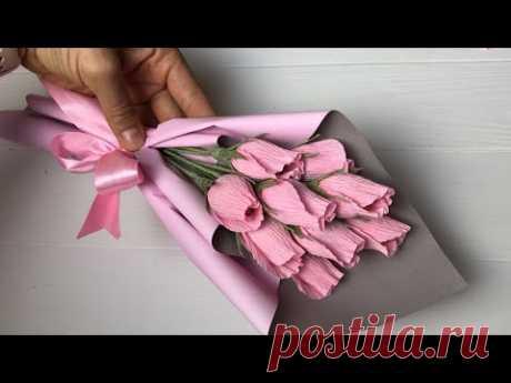 Crepe papere цветы из гофрированной бумаги! Букет с конфетами