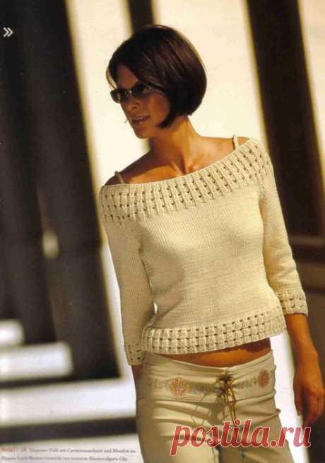 Стильный женский пуловер спицами. Пуловер с вырезом лодочка вязаный спицами | Лаборатория домашнего хозяйства