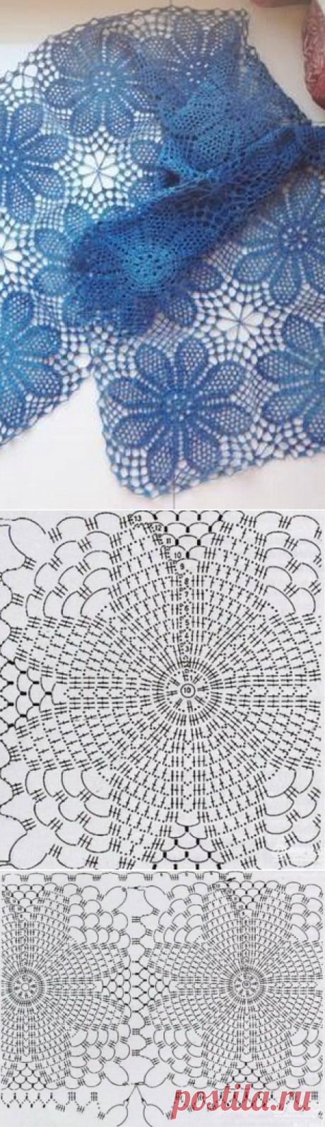 Невесомый ажурный шарф крючком. Схема