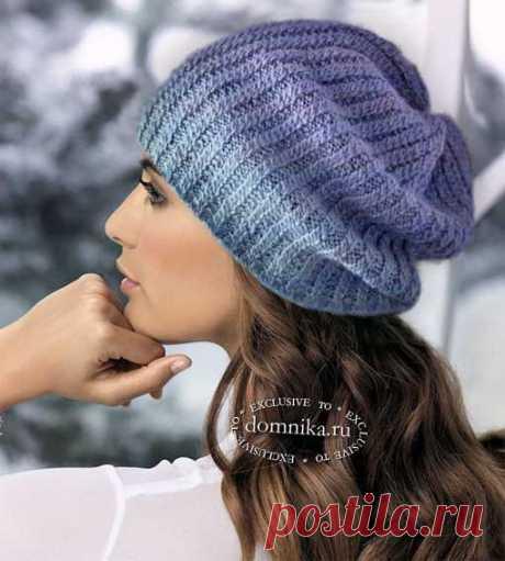 Простая шапка - вязаная шапка спицами для женщин #шапочка связанная резинкой