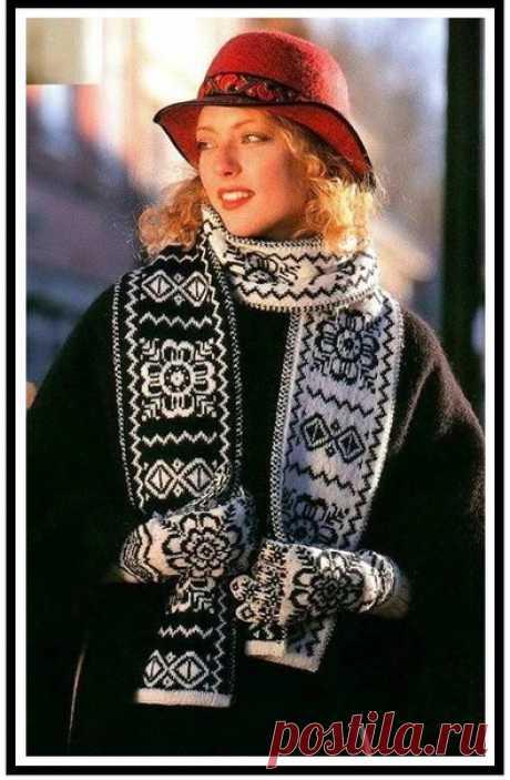 Шарф с норвежским узором. Из норвежского журнала - подборка подобных узоров. #knitting #вязание_спицами #интарсия #жаккард #шарфы_спицами