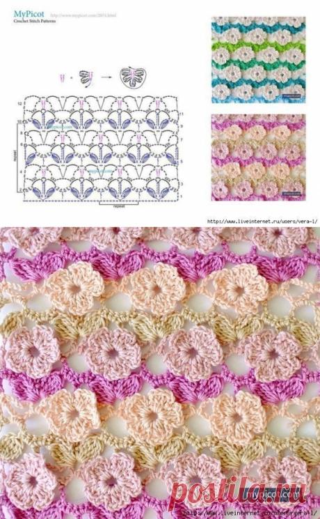 Нежный цветочный узор крючком — Сделай сам, идеи для творчества - DIY Ideas