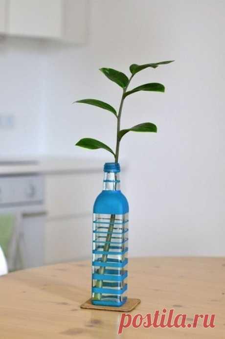 Оригинальная ваза из бутылки