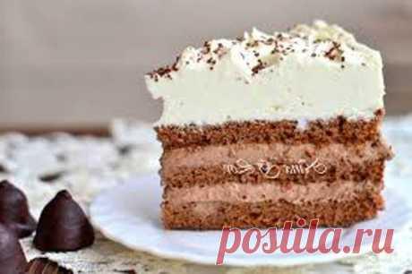 """Шоколадный торт """"Кофе со сливками"""". Для бисквита: мука пшеничная - 80 г яйца крупные - 4 шт. ..."""