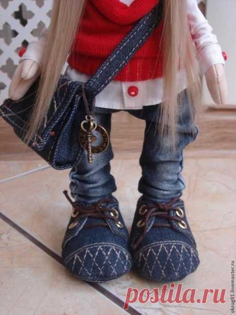 Выкройки, кройка и шитье для начинающих Ботиночки для кукол. Мастер-класс