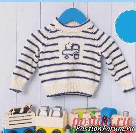 Детский пуловер реглан с мотивом «Трактор»