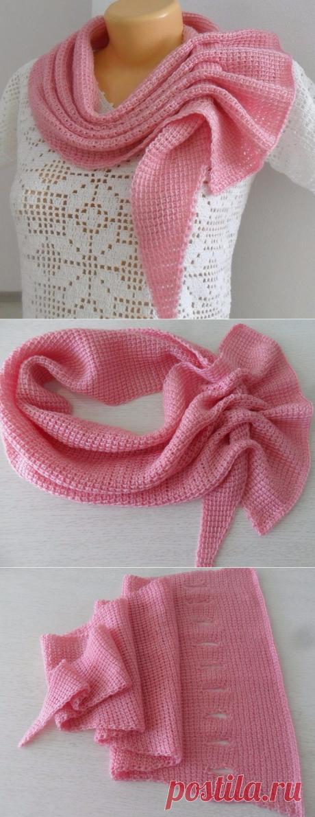 Шарф-платок тунисским вязанием