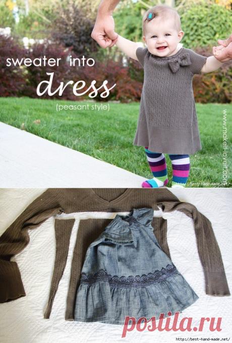 Стильные платья для малышек из маминых свитеров. Мастер-классы