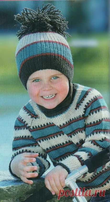 Комплект в полоску - пуловер и шапочка | Вязание для детей