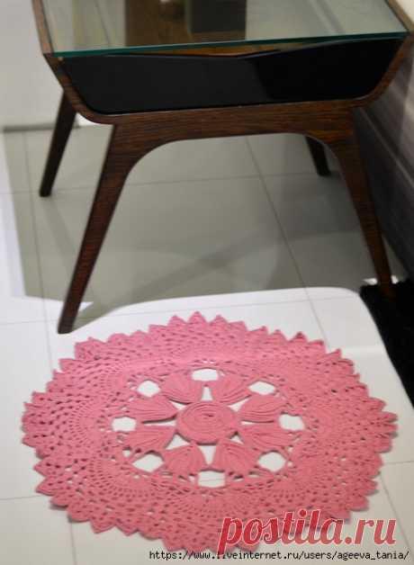 Розовый коврик крючком — HandMade