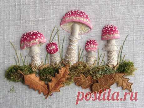Объемная вышивка грибов: невероятные идеи — DIYIdeas